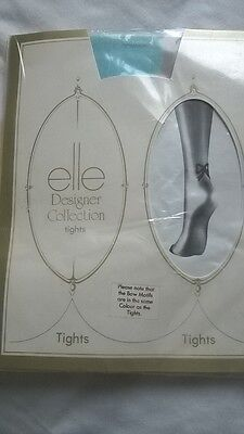 VINTAGE ELLE DESIGNER COLLECTION TIGHTS,Turquoise , BNIB  ONE SIZE