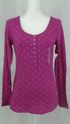 Gap Womens Size Small Magenta Long Sleeve 100  Cotton Stretch Top Nwt