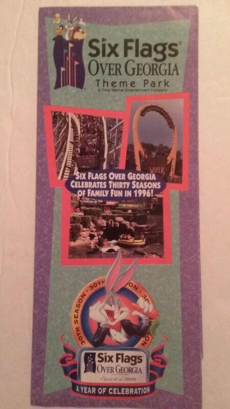 Six Flags Over Georgia Theme Park 1996 30 years souvenir brochure