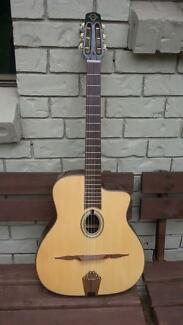 FRENCH LUTHIER HAND MADE GYPSY JAZZ GUITAR; OVAL HOLE WILL SHIP!