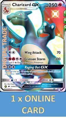 1 x Pokemon FA Shiny Charizard-GX Hidden Fates 49/94- PTCGO Digital Online Card