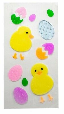 Happy Easter Spring Chicks Eggs Window Gel Sticker Cling Decorations classroom  - Spring Classroom Decorations
