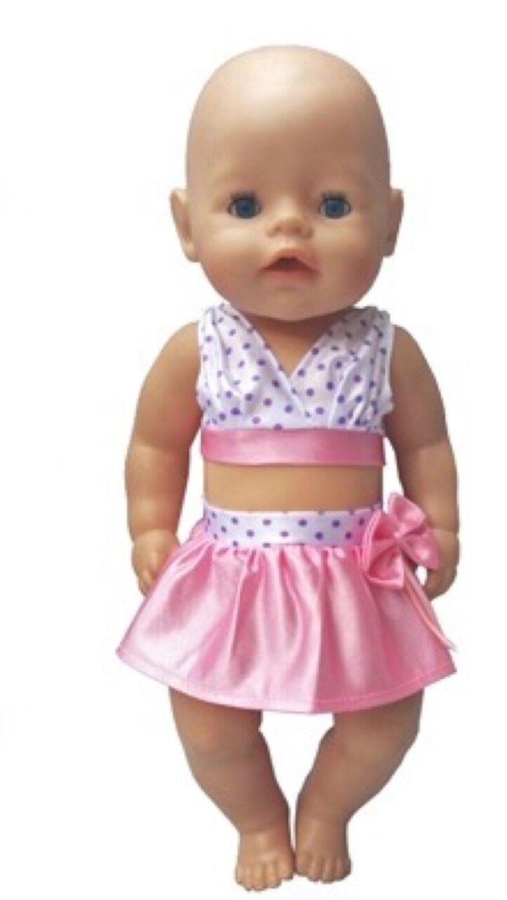 Puppenkleidung, Bikini, pink/weiss, 43 cm, zb. Baby Born/Sister, NEU