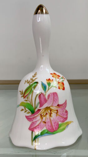 Vintage Flambro Imports Spring Fantasy Bell Japan White Pink Lily Gold Tip