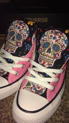Custom Made Sugar Skull Fabric Converse Shoes