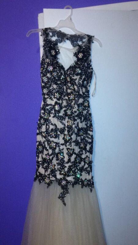 Black & Beige Prom Dress with Flower Pattern Crystals