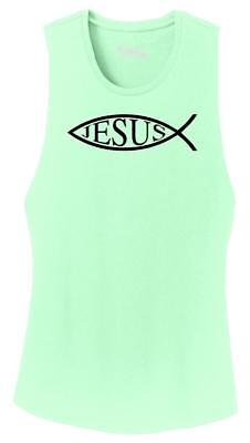 Ladies Jesus Fish Shirt Christian Faith Religion God Shirt Festival Tank