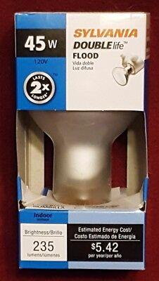 Sylvania 15698 Double Life Incandescent Lamp, 45 W, 120 V, R20, Medium Screw ,,