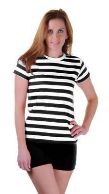 Mädchen Damen Schwarz Rot Blau und Weiß Gestreift Buch Woche T-Shirt Kostüm - Schwarz Und Weiß Gestreifte Kostüm