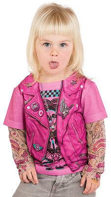 Kunst- Echt Kleinkinder Pink Biker Mädchen Motorrad Tätowierung - Kleinkind Motorrad Kostüm