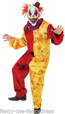 Mens Horror Clown Circus Scary Halloween Fancy Dress Costume Outfit One Size ()