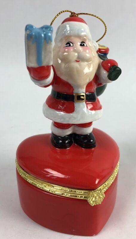 Santa Jewelry Gift Box Christmas Ornament Hinged Rogers & Holland Ceramic