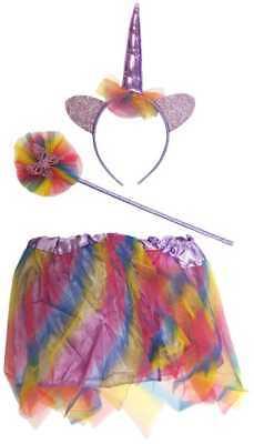 Unicorn Rainbow Girls Costume Christmas Party Dress With Wand & Headband Horn