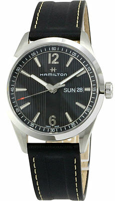 Hamilton Broadway Day Date Black Line Dial Leather Men Watch H43311735 New orig