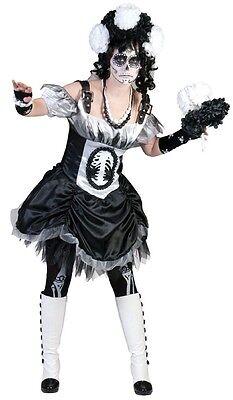 Kostüm Horror Braut schwarz mit weißem Schleier Halloween Kostüm Fasching  ()