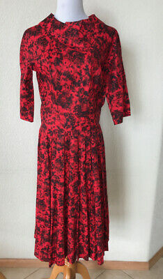 Vtg Red Black Batik Print Cotton Dress Drop Waist Pleated Full Skirt 40 Bust -
