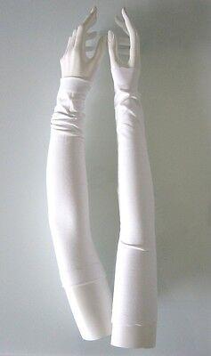 SETENGA Armstulpen 50cm !! lang WEISS Viskose-Stretch soft  Stulpen Abendmode