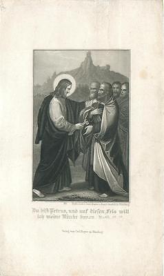 Jesus Und Petrus (alter Stahlstich, Carl Mayers Nürnberg, Jesus und Petrus  #E812)