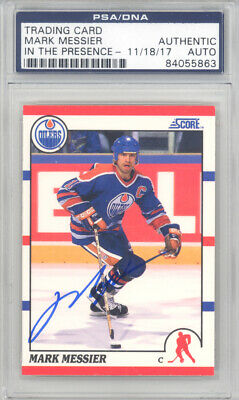 MARK MESSIER AUTOGRAPHED 1990-91 SCORE CARD #100 OILERS PSA/DNA ITP 129048 1990 Score Autographed Hockey Card