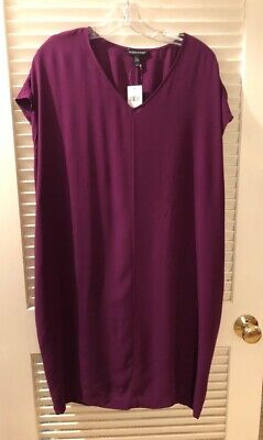Eileen Fisher Silk Georgette Crepe Dress Grape L NWT