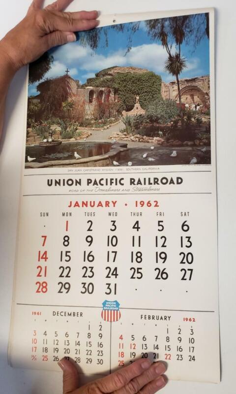 Union Pacific Large Wall Calendar 1962 e