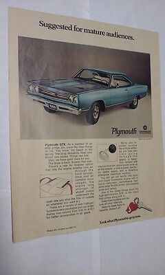 (1969 Plymouth GTX Vintage Magazine Ad Muscle Car Picture Poster Page)