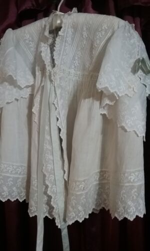 Antique Victorian Bed Jacket White Cotton Lawn Embroidered with Ribbons