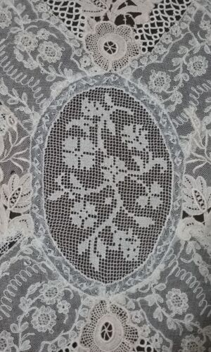 "Antique Ornate French Tambour Lace Textile Embroidery 15"" x 11"""