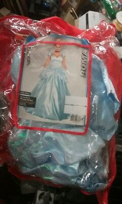 Cinderella Costume Adult Princess Masquerade Halloween Dress 3 PIECE STROKE-NEW
