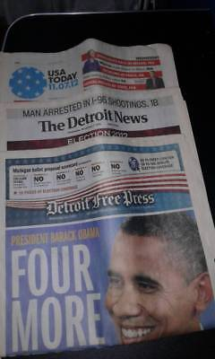 3 Newspapers   Us Today  Detroit Free Press  The Detroit News  11 7 2012