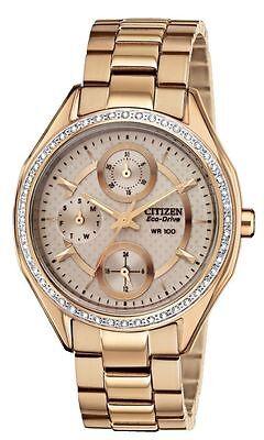 Citizen Eco-Drive FD1063-57X Women's Rose Gold Swarovski Crystal Chrono Watch