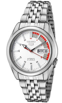 Seiko 5 SNK369 Men's Stainless Steel White Speed Dial Day Date Automatic Watch