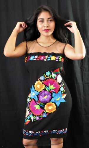 Womens Handmade Embroidered Mexican Dress Medium Large Vestido Bordado Mexicano
