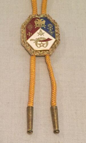 Vintage Masonic Shriners BOLO TIE Metal & Enamel Freemason Emblems Logo