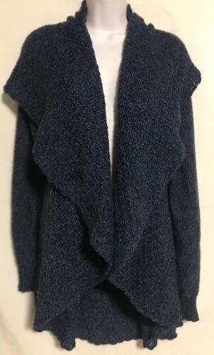 Handmade Boho Open Front Draped Cardigan Slate Blue Super Soft 100% Alpaca Sz L