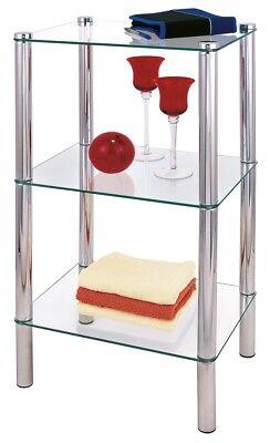 Glas Badezimmer-eck-regal (REGAL 3 GLASBÖDEN BÖDEN VERCHROMT BADREGAL BADEZIMMERREGAL 39X29X77CM GLAS NEU)