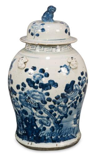 "Blue and White Porcelain Bird Motif Temple Jar 19"""