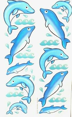 Diving Dolphins Fish Ocean Water Wall Art Decals Appliques Stickers Peel & -