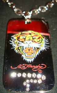 ED-HARDY-Christian-Audigier-Set-TIGER-DOG-TAG-Necklace-CUFF-LINKS-Money-Clip