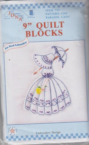 1 Jack Dempsey Parasol Lady Stamped Embroidery Quilt Blocks