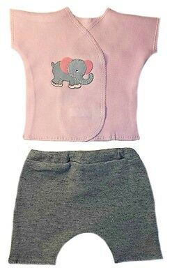 Eager Elephant Baby Girl Shirt and Shorts Clothing - 4 Preemie and Newborn Sizes