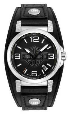 Bulova Harley Davidson Men's Date Calendar Grey Dial Leather 39mm Watch 76B163