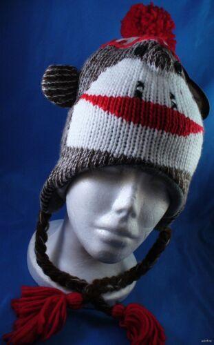 Wholesale Lot Of 6 Knit Sock Monkey Plush Winter Hats Animal Kids Womans Mens