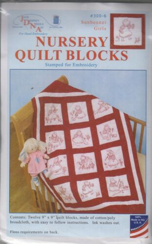 1 Jack Dempsey Sunbonnet Girls Stamped Embroidery Quilt Blocks