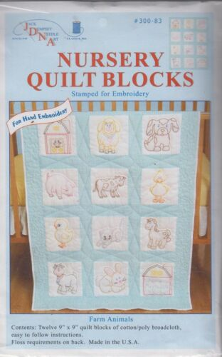 1 Jack Dempsey Farm Animals Stamped Embroidery Quilt Blocks