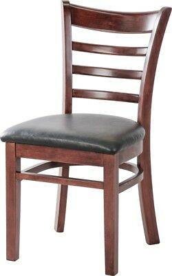 Restaurant Ladder Back Wooden Restaurant Chair With Black Vinyl Seat Quick Ship