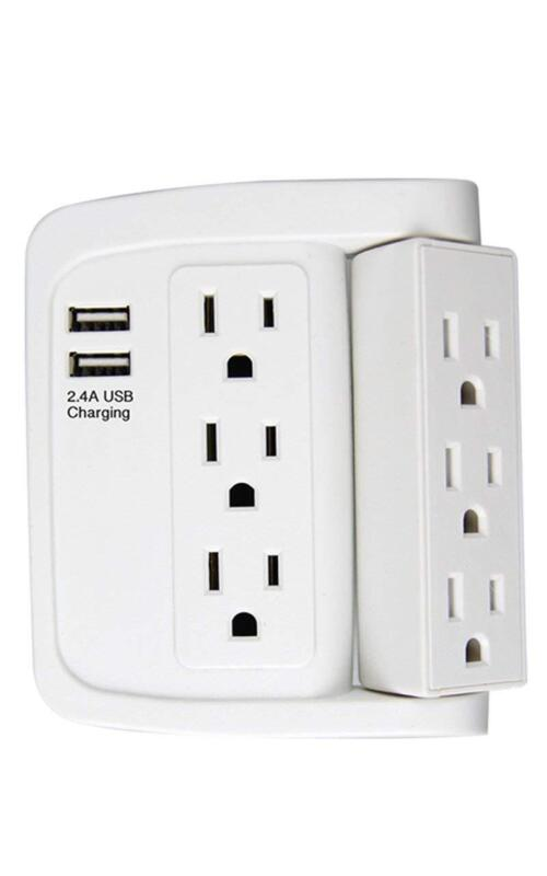 Wall Power Strip Rotate Adapter With 6 Socket Outlets And 2