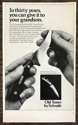 1976 Schrade Old Timer Sharp Finger & Drop Point Hunter Knives Print Ad