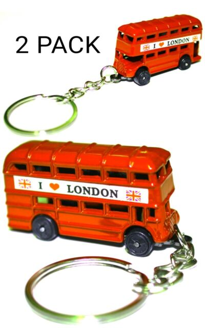 2 Pcs Red London Bus Keyrings England UK Novelty Souvenir GB Gift New
