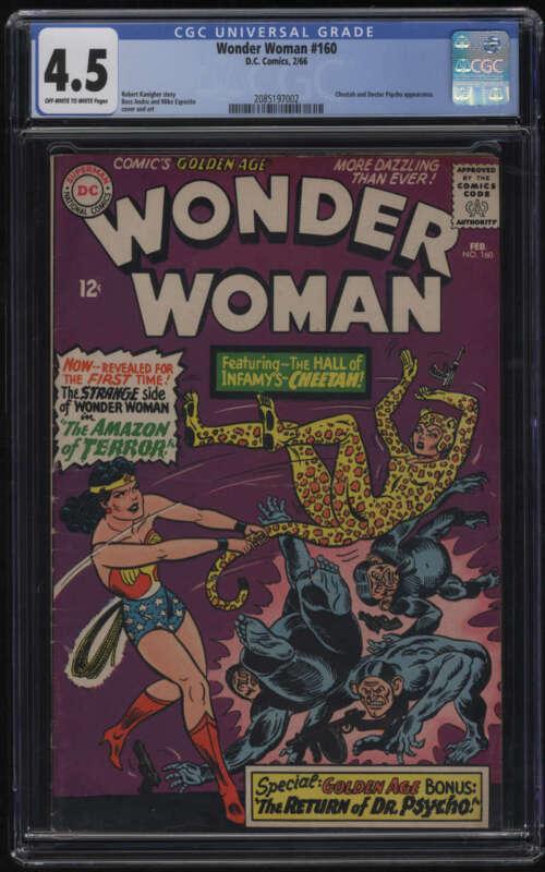 Wonder Woman #160 CGC 4.5 OW/W Pgs Cheetah 1966 Doctor Psycho